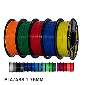 Tonglingusl 5pcs pla/abs/petg 3d printer filament 1.75mm 1kg 343m/10m 5color 2.2lbs 3d printing material plastic material for 3d printer 3d pen (color : free, size : asa)