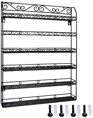 AMT 6 TIER Metal Nail Polish Racks for the Wall, Up to 192 BOTTLES, Clear Nail Polish Display, Young Living Essential Oils Organizer. Holds as much as 192 Bottles (Black)