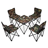Newdora [4 Chairs + 1 Table] Lightweight Portable Folding Chairs Table Set, Outdoor Indoor Compact Ultra Foldable Camp Beach Picnic Fishing Backpacking Camping Set with Free Carrying Bag