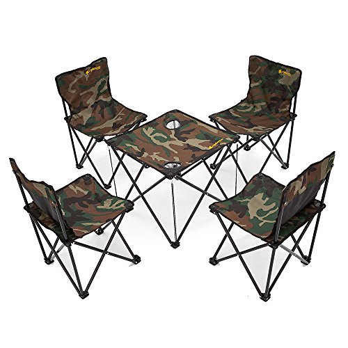 Newdora [4 Chairs + 1 Table] Lightweight Portable Folding Chairs Table Set, Outdoor Indoor Compact Ultra Foldable Camp Beach Picnic Fishing Backpacking Camping Set with Free Carrying Bag by Newdora