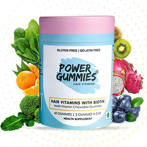 Power Gummies Hair & Nail Vitamins with Biotin & 10 Essential Vitamins – 60 (blue) for Men & Women. Vitamin A to E…
