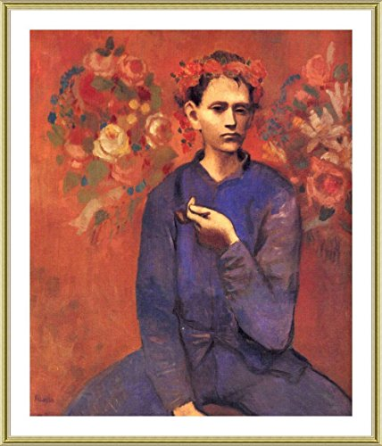 A Boy With Pipe Pablo Picasso Gold FRAMED POSTER  - READY TO