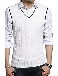 XQS Men's Regular Fit Pullover V-neck Sleeveless Sweater Vest