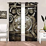 Rod Pocket Window Curtains Industrial, Aged Gears