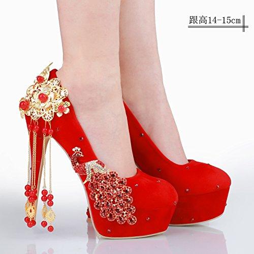 Zapatos rojo de mujer enrejado rojo retro raso con JINGXINSTORE de novia Zapatos zapatos de matrimonio qwCnXS8dU
