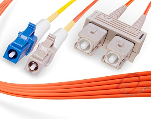 1M LC to SC Mode Conditioning Fiber Patch Cable | Fiber Optic LC Mode-Conditioning to SC Fiber Patch Cable 1 Meter (3.28ft) | Length Options: 1M-15M | FiberCablesDirect | Alt: mc patch sm lc to sc mm