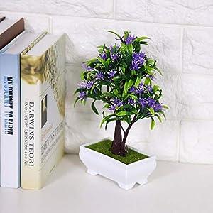 GLOGLOW Artificial Bonsai Flower Pot Fake Silk Flower Tree Plant for Wedding Holiday Home Decor 10