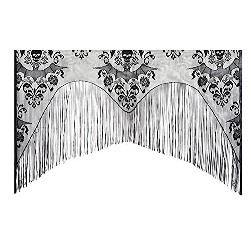 Halloween Window Curtain, Outgeek Lace Skull Curtain Bat Curtain Valance with Tassel 38