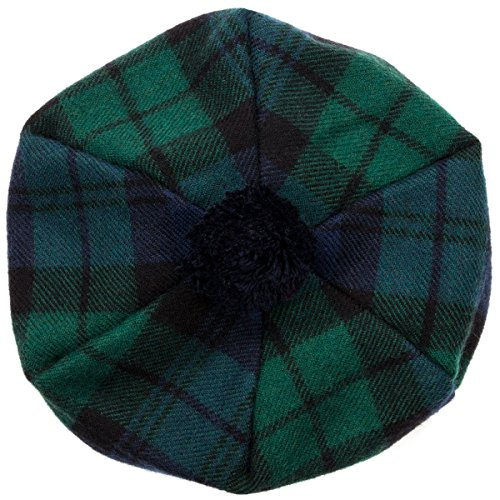 Oxfords Cashmere Scottish Tam with PomPom. Black Watch -