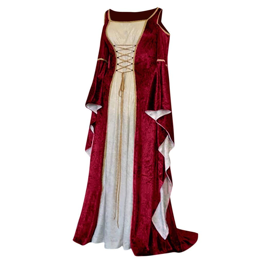 VEKDONE Women Renaissance Medieval Costumes Dress Plus Size Gothic Princess Cosplay Retro Gown(Red,XXX-Large) by VEKDONE Women