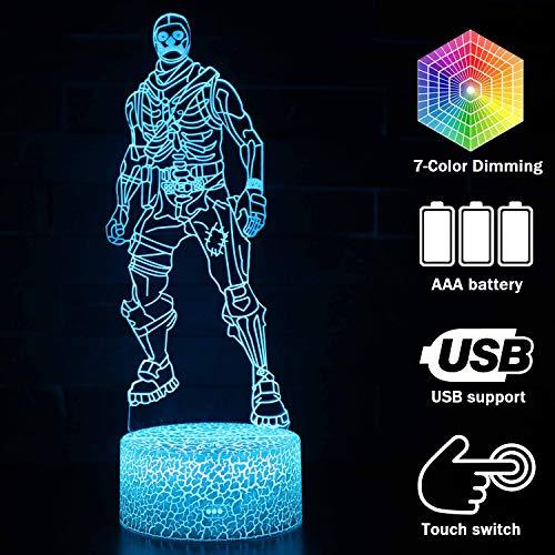 Creative 3D Skull Trooper Lamp Table Light USB Cable Sensitive Touch Button Nightlight Desk7 Colors (Crack Skull Trooper) (Creative Table Lamps)