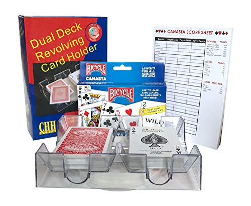 Canasta Cards With Point Values, 2 Deck Rotating Card Tray, Canasta Score Pad (Bundle of 3 Items) (Value Pack Cards)