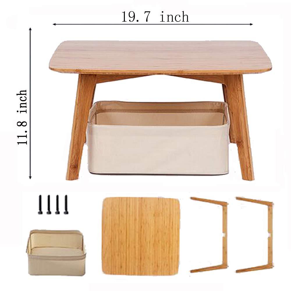 Zens Bamboo Small Coffee Table Square Tatami Table Storage Basket 2 Sponge Cushions Living Room Furniture