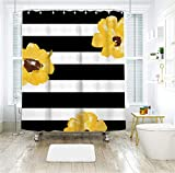 Livilan Waterproof Fabric Shower Curtain Set 70.8'' x 70.8'' Yellows Flower & Black White Stripes Pattern Decorative Thick Bathroom Curtain