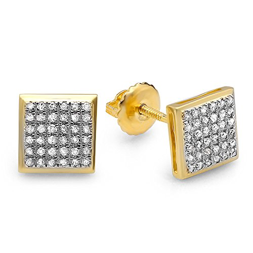0.25 Carat (ctw) 18K Yellow Gold Plated Sterling Silver Diamond Micro Pave Square Shape Stud Earrings ()