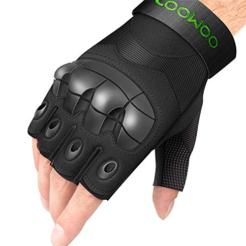 UP UPKJ Tactical Gloves, Fingerless/Half Finger Tactical Gloves Shooting Military Combat Gloves with Hard Knuckle Fit for Cycling Airsoft Paintball Motorcycle Hiking Camping(Black, Size L)