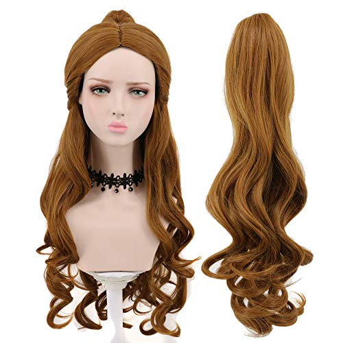 Yuehong Women's Long Big Wavy Brown Cosplay Wigs With Ponytail For Halloween -