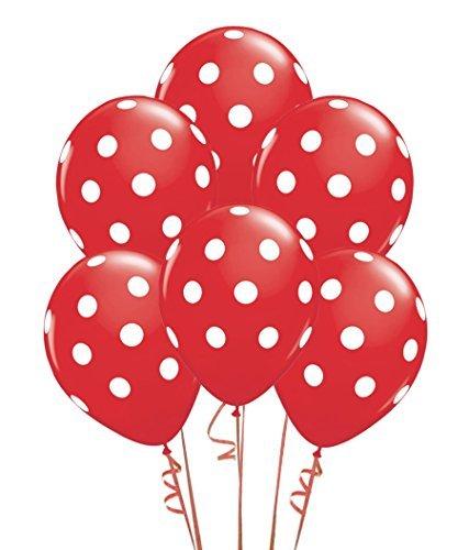 Qualatex Big Polka Dots White/Red Biodegradable Latex Balloons, 11-Inch -