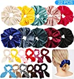 Makone 22pcs Oversized Velvet Hair Scrunchies with Bunny Ear for Women Large Velvet Hair Elastic Band Hair Ties Ponytail Holder Girls Hair Accessories