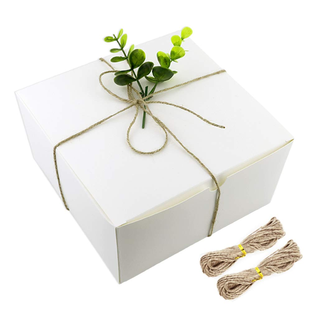 BAKHUK White Boxes Gift Boxes 12 Pack 8x8x4 Inches, Paper Gift Boxes with Lids for Gifts, Cupcake Boxes, Crafting 4336834896