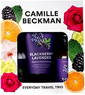 product image for Camille Beckman Everyday Collection Travel Trios, Blackberry Lavender, Glycerine Hand Therapy 3 oz, Silken Body Cream 2 oz, Complete Cleansing Gel 2 oz