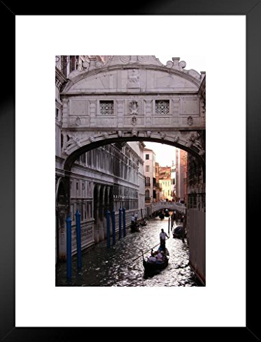 Poster Foundry Gondola Under Bridge of Sighs Venice Italy Photo Art Print Matted Framed Wall Art 20x26 inch ()