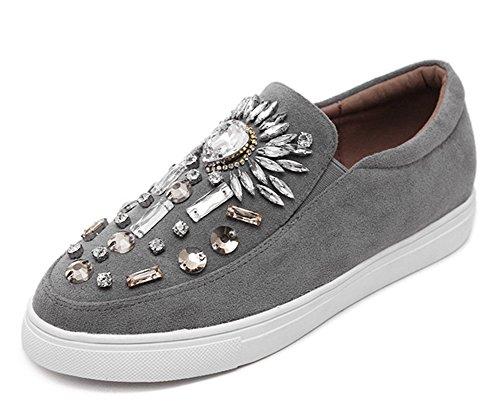 Aisun Damen Komfort Strass Glitzer Suede Flats Loafers Slip On Slipper Halbschuhe Grau