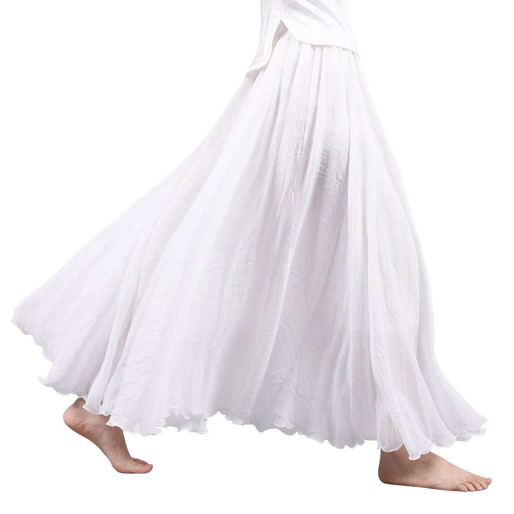 Women's Bohemian Style Elastic Waist Band Cotton Long Maxi Skirt Dress White 95CM Length