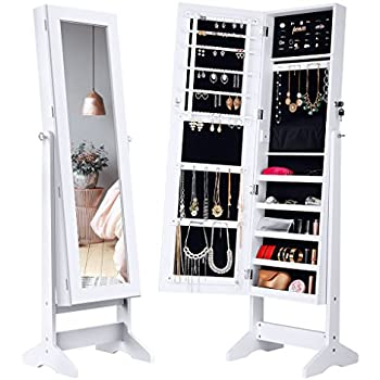LANGRIA Lockable Jewelry Cabinet Standing Jewelry Armoire Organizer With  Mirror, Full Length Standing Jewelry Storage, 4 Angle Adjustable, For  Rings, ...