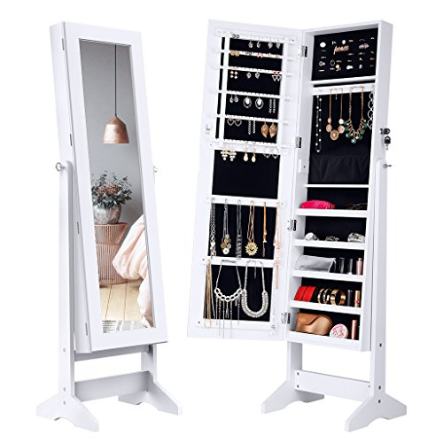 LANGRIA Lockable Jewelry Cabinet Standing Jewelry Armoire Organizer with Mirror, Full Length Standing Jewelry Storage, 4 Angle Adjustable, for Rings, Earrings, Bracelets, Broaches, White - Up Jewelry Stand Case