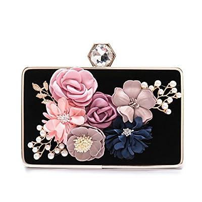 Women's Elegant Satin Evening Clutch Bags Rhinestone Pearl Beaded Evening Handbag With Handmade Flower For Prom Party