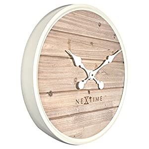 Nextime Plank Reloj de Pared, Madera, Blanco, 50 x 6 x 50 cm 6
