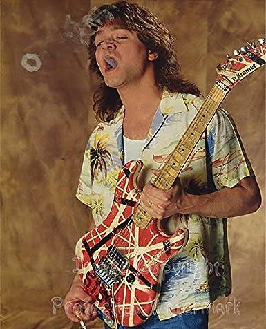 Amazon Com Eddie Van Halen Blowing Smoke Rings 8x10 Photo Entertainment Collectibles