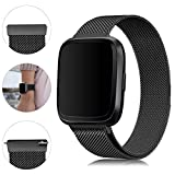 Find-MyWay Compatible with Fitbit Versa Bands/Versa 2/Versa Lite Bands,Versa Accessories Wristband Stainless Steel Bracelet for Women Men Strap for Fitbit Versa/Lite/Special Edition