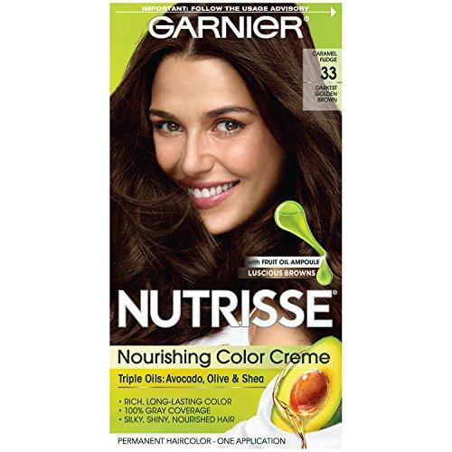 Garnier Nutrisse Nourishing Hair Color Creme, 33 Darkest Golden Brown  (Packaging May Vary)