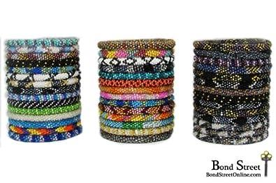 Amazon Com Wholesale Lot Of 24 Nepal Roll On Bracelets Nepal Glass