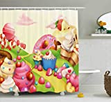 Pink Decor Shower Curtain by Ambesonne, Food Theme Sweet Landscape of Candies Cupcakes Lollipop and Ice Cream Print, Fabric Bathroom Decor Set with Hooks, 70 Inches, Multicolor