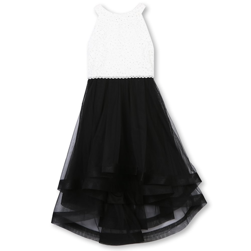 Speechless Girls' Big 7-16 Tween Sparkle Waist Party Dress with Wide Ribbon Hem, Black and White, 7