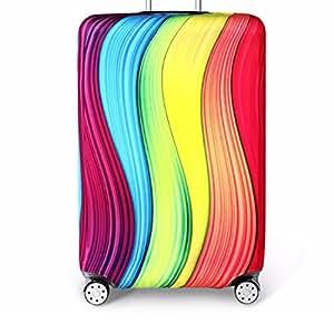 Bestja Elástico Funda Protectora de Maleta Luggage Protective Cover, Lavabile Viaje Equipaje Cubierta Carretilla Caso Protectora Cubierta Cabe 18-32 Pulgadas Equipaje (Arcobaleno, S)