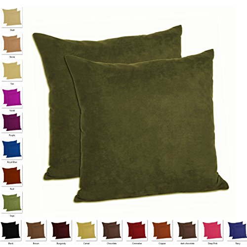 MoonRest - Set of 2 – Microfiber Decorative Pillow, Fully Assembled with Hidden Zipper (20''x20'', Olive) by MoonRest