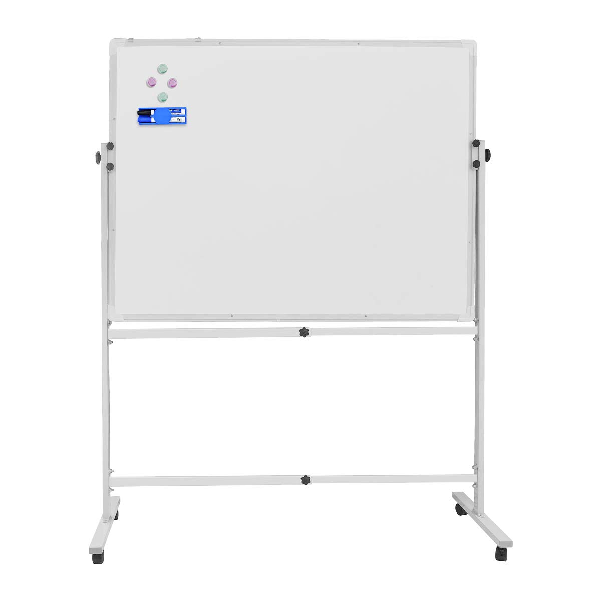Mobile Whiteboard Dry Erase Board With Rolling Stand for Office/Home/School Presentation Whiteboard including 1 Eraser, 2 Markers and 4 Magnetic Nails (48'' X 36'')
