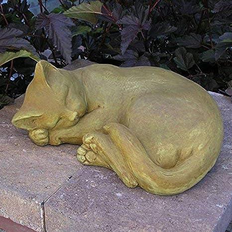 "13/"" Long Cement lying Sleeping Cat Garden Art Concrete Statue Lawn Ornament"