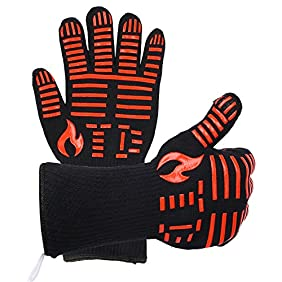 TD Design BBQ Grilling Cooking Gloves, 932ºF Extreme Heat Resistant Gloves, Grill Oven Safety Mitts - 1 Pair 14 inch Long for Extra Forearm Protection