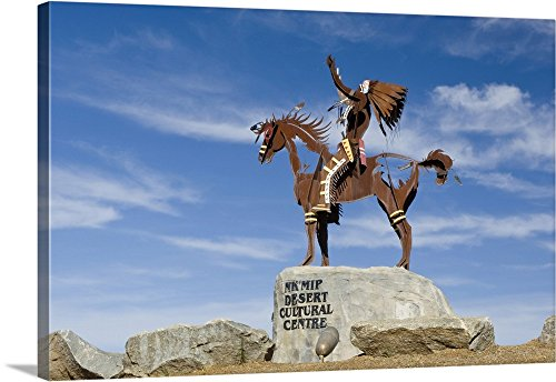 Rob Tilley Premium Thick-Wrap Canvas Wall Art Print entitled Canada, BC, Osoyos, Nk'Mip Desert Cultural Center, Statue of Indian on Horse 48