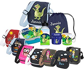 Kindergartentasche als SET mit Namen und Motiv - (Set: Kindergartentasche Brotdose Turnbeutel Trinkflasche)
