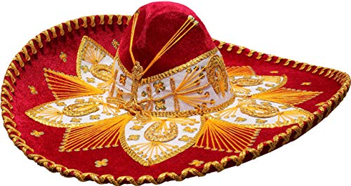 Authentic Mariachi Flowers Style Hat Fancy Premium Mexican Sombrero Charro Hats Made in Mexico (Choose Size & Color) (Adult Men, Red/Gold)