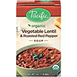 Pacific Foods Organic Vegetable Lentil and Roasted Red Pepper Soup, 17 Ounce Cartons,  12 Pack