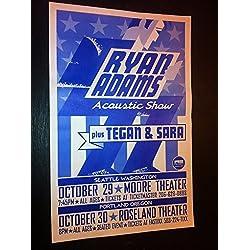 Ryan Adams Cardinals Tegan and Sara Acoustic Rare Original Concert Tour Poster