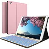 iPad Keyboard Case for New 2018 iPad, 2017 iPad, iPad Pro 9.7, iPad Air 1 and 2 - BT Backlit Detachable Quiet Keyboard - Slim Leather Folio Cover - 7 Color Backlight - Apple Tablet (9.7, Rose)