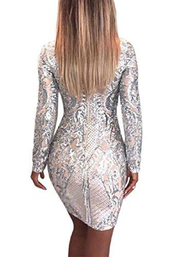 Paillettes Delle Vestito Di Da Bodycon Modo Donne Lunga Manica Del Argento Chic Club Comodi cnT4fqgq